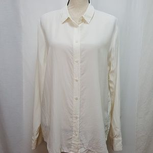 Equipment Large Shirt Ivory Silk Blouse Button Up